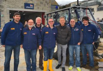 Jeremy Kyle with Lyme Regis Lifeboat Crew