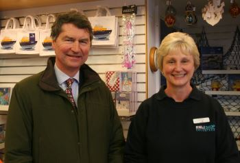 Sir Tim Laurence with Krys Lavery, RNLI shop manager