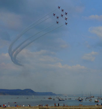 Red Arrows over Lyme Regis